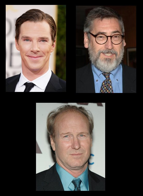 Top row, L to R: Benedict Cumberbatch, John Landis. Bottom row: William Hurt