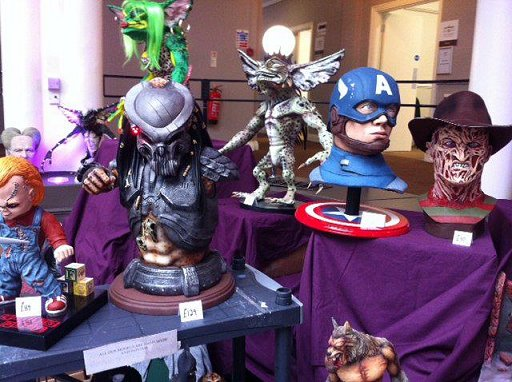 Model display at Event Horizon - Chucky, Predator head, Gremlin, Captain America, Freddie Kreuger