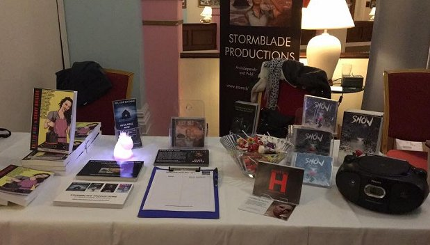 Stormblade Productions table at FantasyCon by the Sea, featuring Snow, by Paul Kane