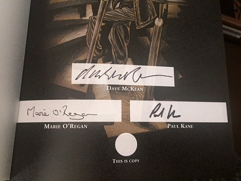 Night Shift by Stephen King, signing sheet, signed by Dave McKean, Marie O'Regan and Paul Kane