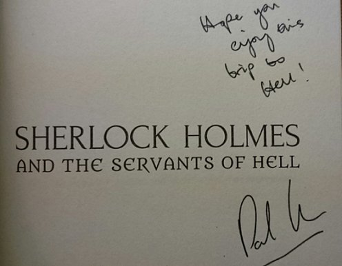 Signed copy of Sherlock Holmes and the Servants of Hell by Paul Kane